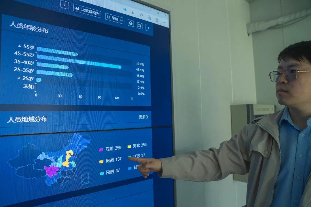 D07项目总工程师李佳兴用智能系统屏幕展示工地工人的年龄结构